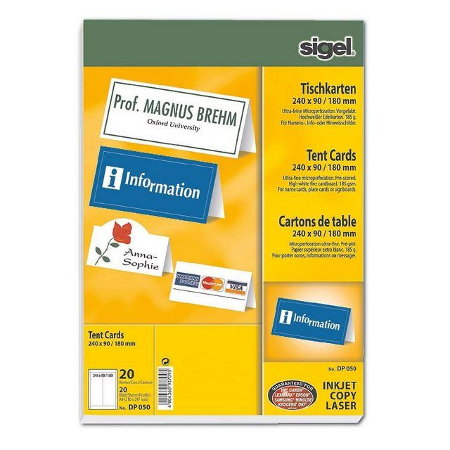Sigel Tischkarten Dp050 Farbe Hochweiss Online Kaufen