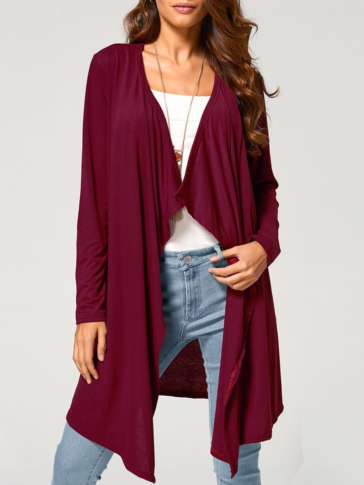 Autumn Casual Long Cardigan in Wine Red | Sammydress.com