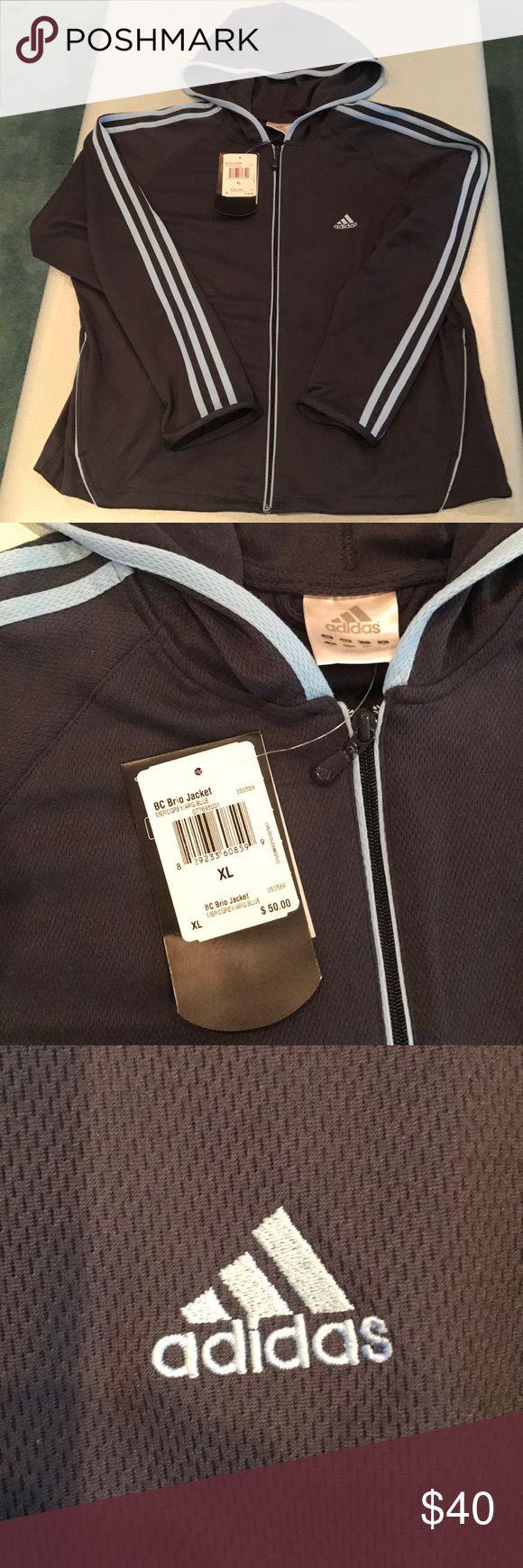 Adidas Grey Brio Jacket with Hood Brand New Adidas Jacket Lightweight . Very Comfortable . adidas Jackets & Coats