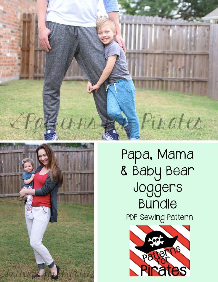 PDF sewing pattern for joggers, sweatpants, sweats, jogger, family, matching, mommy and me, pjs, pajamas, pants- Patterns for Pirates, P4P