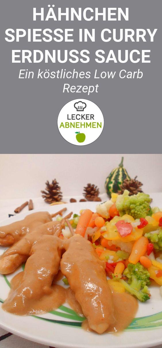 Hähnchenspieße mit Erdnuss Sauce (Low Carb)