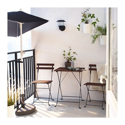 TÄRNÖ Table+2 chairs, outdoor, acacia black, steel gray-brown stained- for screened in porch, $50