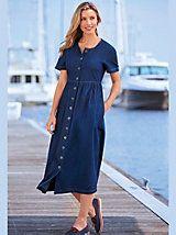 Denim Button-Front Dress | Blair