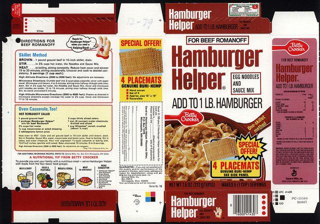 General Mills - Hamburger Helper - Beef Romanoff - box file flat - 1979 | Flickr - Photo Sharing!