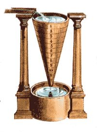 The water clock was invented in Ancient Egypt. It was used to tell time and to measure speeches in the courtroom. The inventor of the water clock was Ctesibius. He was a Greek inventor that lived in Alexandria, Egypt. Ctesibius just did not invent, it he also improved it by adding a float with a rack that turned a toothed wheel. He made the water clock make sounds like a whistling bird, bells, puppets, and other gadgets. Ctesibius lived and invented the water clock in the third century.