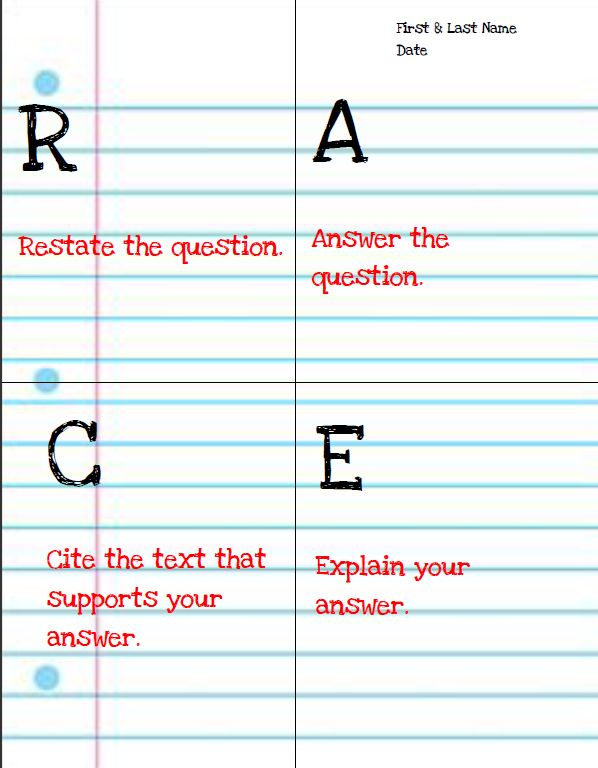 Middle of Lit: RACE Writing Response