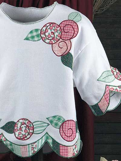 Quilted Clothing - Classic Quilted Clothing Patterns - Lollipop Roses Sweatshirt