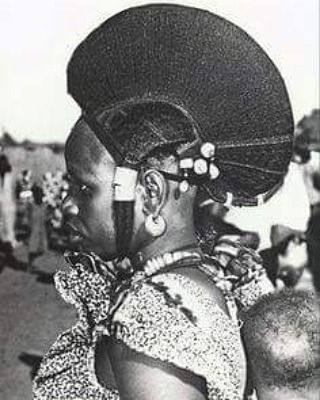 Classic Fulani/Peul hairstyle of which there are many forms.  There are many groups of Fulani/Peul with varying traditions and hairstyles.  The large cockscomb stop her head  is widely worn in one form or another.