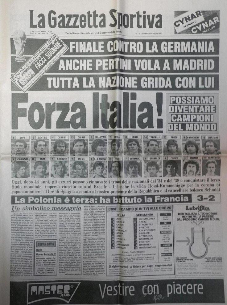 Luglio 1982, siamo ancora in finale di Coppa del Mondo di calcio...con la Germania!!