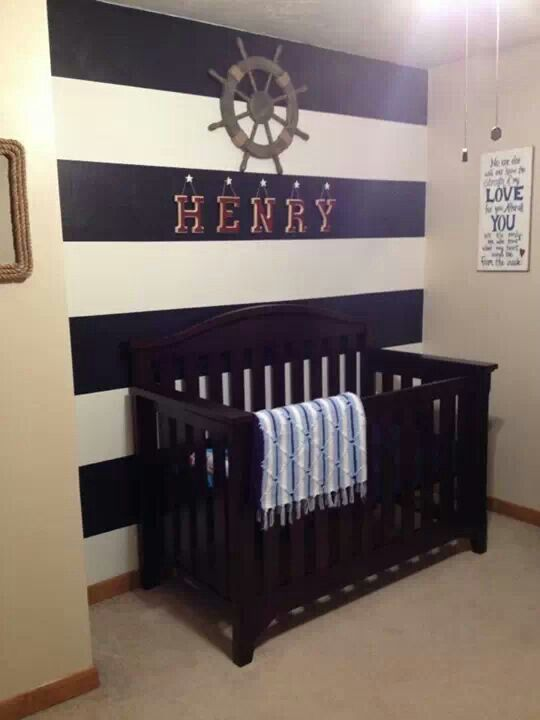Superb Navy U0026 White Nautical Nursery With A Painted Stripe Wall Behind The Crib