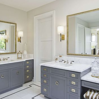 Gray Bathroom Vanity With Gold Campaign Hardware Contemporary Recessed Cabinet Pulls Ring Pull Br Mirror