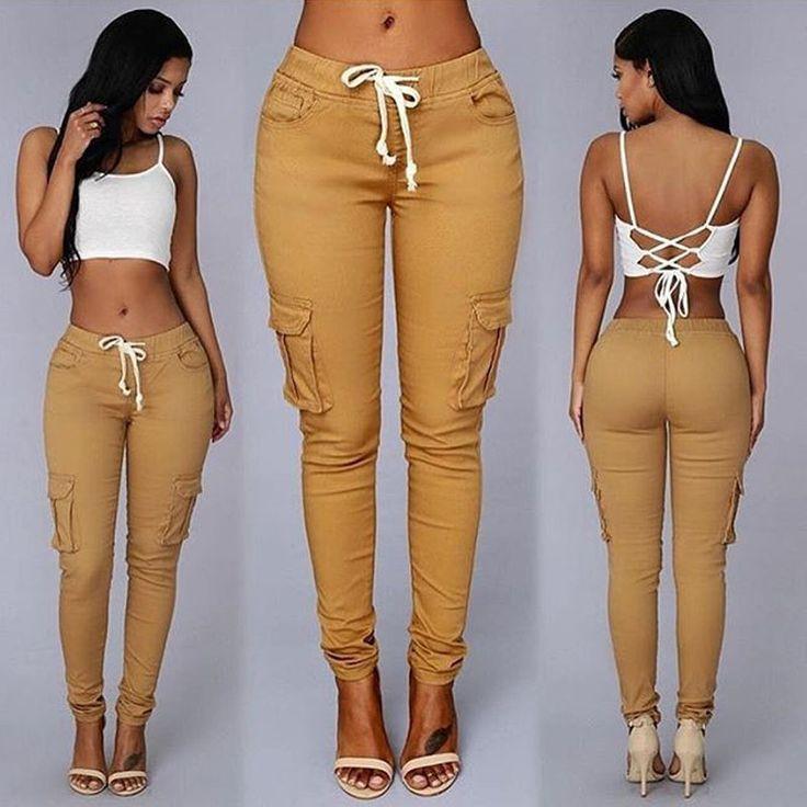[$16.80] Cargo Pants Women Autumn Pockets Elastic Waist Plus Size Trousers For Women Fashion Solid Pantalon Femme Women Pants