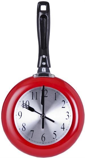 Red Frying Pan Wall Clock. This Red Kitchen Wall Clock Is Made From A Real