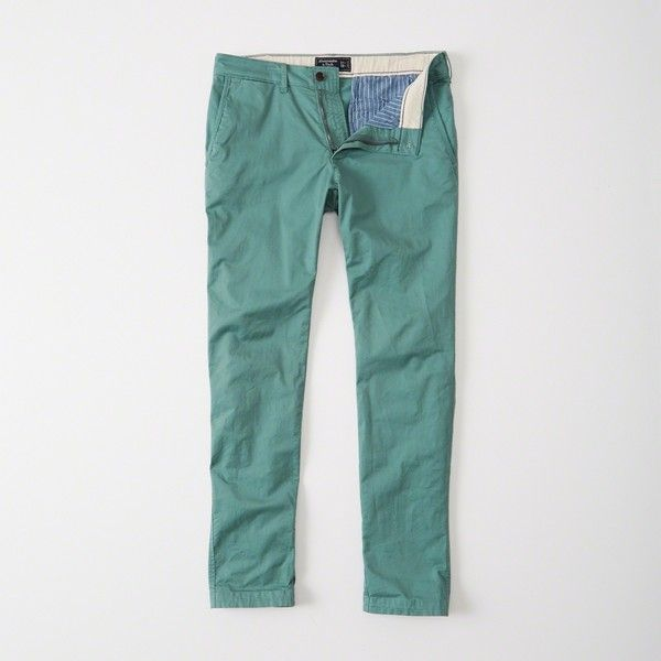 Abercrombie & Fitch Skinny Chino Pants featuring polyvore, men's fashion, men's clothing, men's pants, men's casual pants, teal, mens zip off pants, mens skinny fit dress pants, mens skinny pants, mens super skinny dress pants and mens chino pants