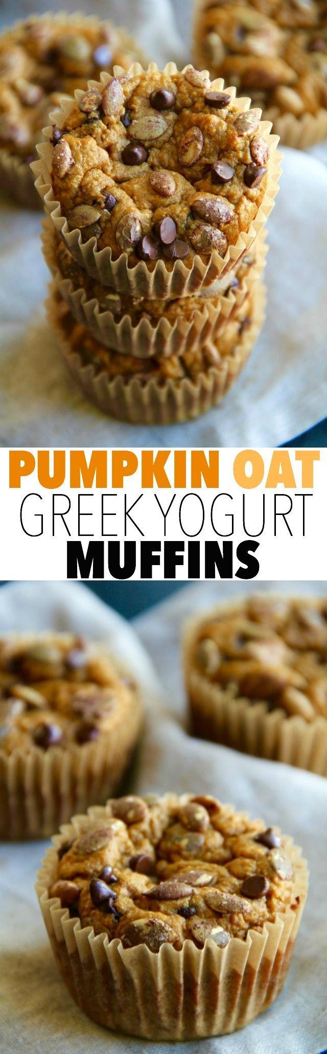Pumpkin Oat Greek Yogurt Muffins -- made without flour, butter, or oil, but so…
