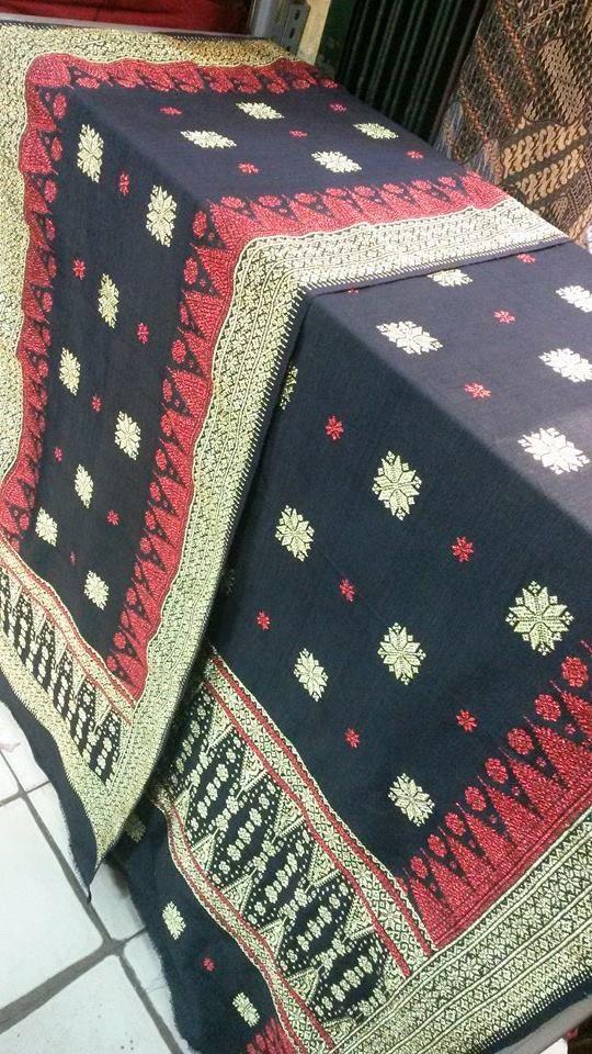 Songket Palembang - Cantik manis Bungo Cina dasar hitam kombinasi merah kristal gold - Tlp/SMS/WA : 081294422133