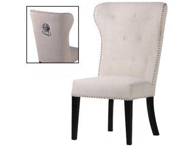 New Jenson Dining Chair Beige Velvet Lion Knocker Tufted Back Premium Quality