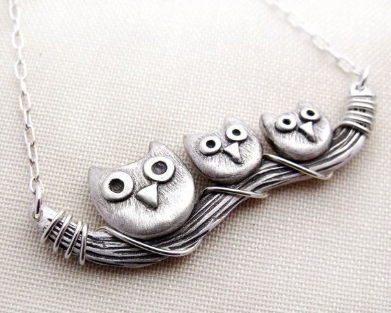 Owl family necklace  sterling silver  Mother's by lulubugjewelry, $87.00  http://www.etsy.com/listing/62651955/owl-family-necklace-sterling-silver?ref=af_new_item