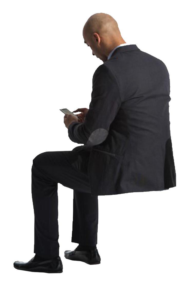 Man sitting in chair side - Cutout Man Sitting Phone Back
