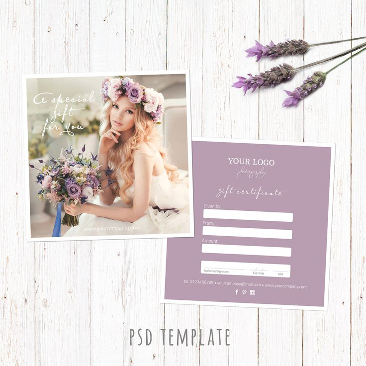 Gift certificate template. Wedding photography gift card. Marketing card for photographers. Fully editable Photoshop PSD files. 5x5 inch. by PenguinGraphics on Etsy