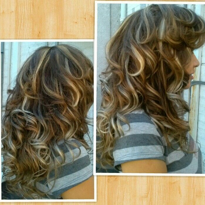 Curly Style On Extensions Of Brown Hair With Blond