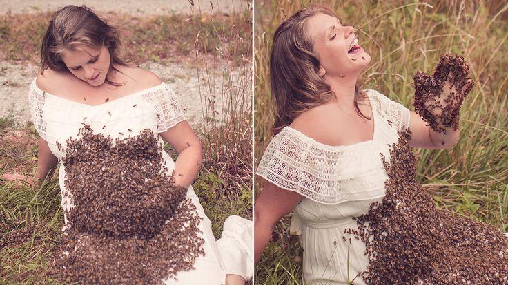 Esta joven embarazada se toma una sección de fotos con miles de abejas sobre el vientre, este fue el motivo.