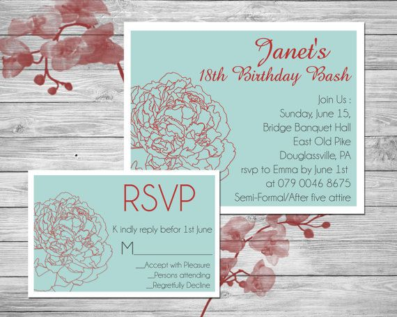 Floral blue and red Printable Birthday Invite  by SansDesignDeck