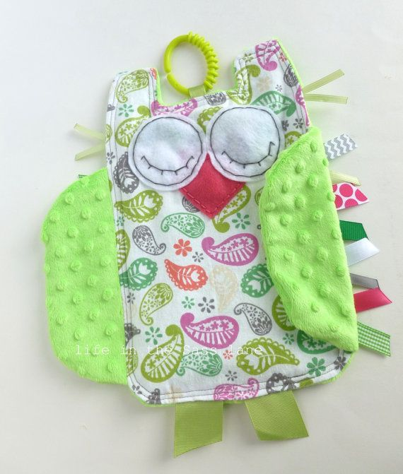 Paisley OWL Ribbon Tag Baby Blankie in Pink by LifeInTheSassLane