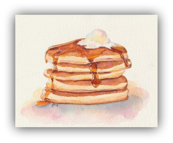 Pancakes With Maple Syrup Original Watercolor Painting Breakfast