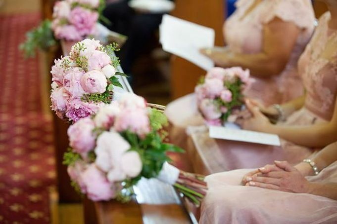 Bridesmaids bouquet, pink Peonies and Ivy berries