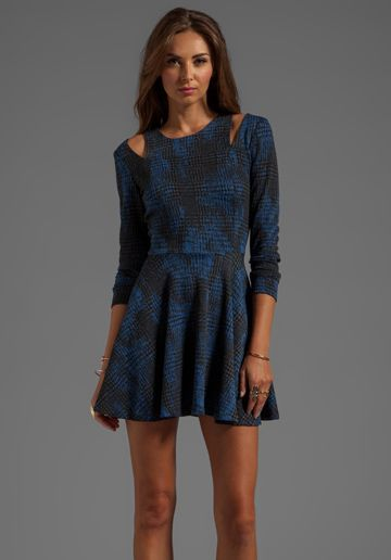 Lucca Couture Long Sleeve Printed Dress in Blue
