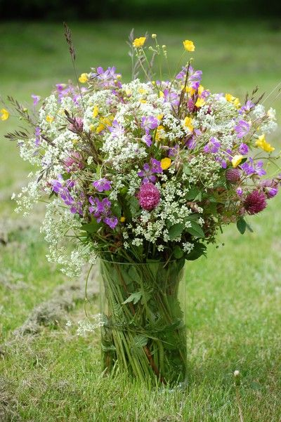 Midsummer flowers, all growing wild. You decorate the midsummer pole and make head crowns with flowers.