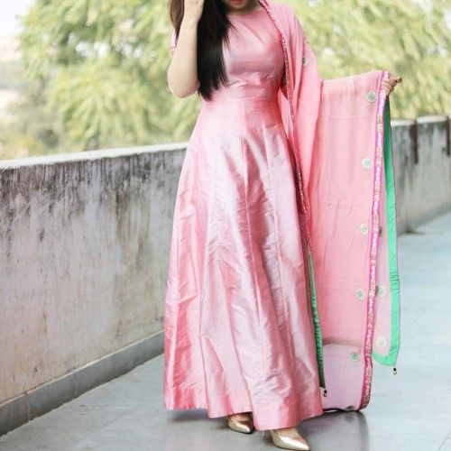 Buy Axar Art Shop Taffeta Silk Pink Plain Anarkali Suit online in India at best price. Shop Axar Art Shop Taffeta Silk Pink Plain Latest New Designer Anarkali Suit by Axar Art Shop online