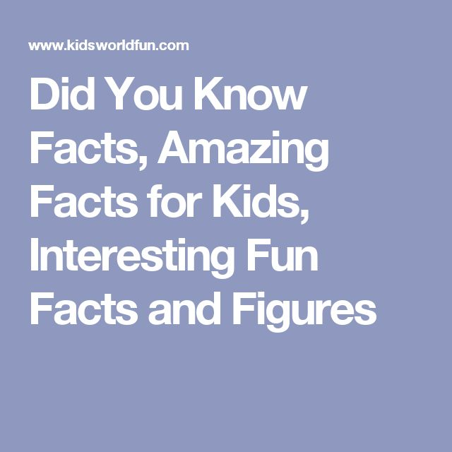 Did You Know Facts, Amazing Facts for Kids, Interesting Fun Facts and Figures