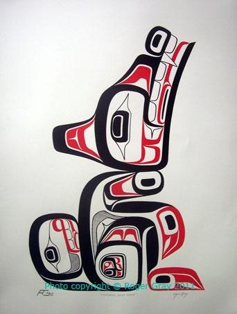 Tsimshian wolf crest painting