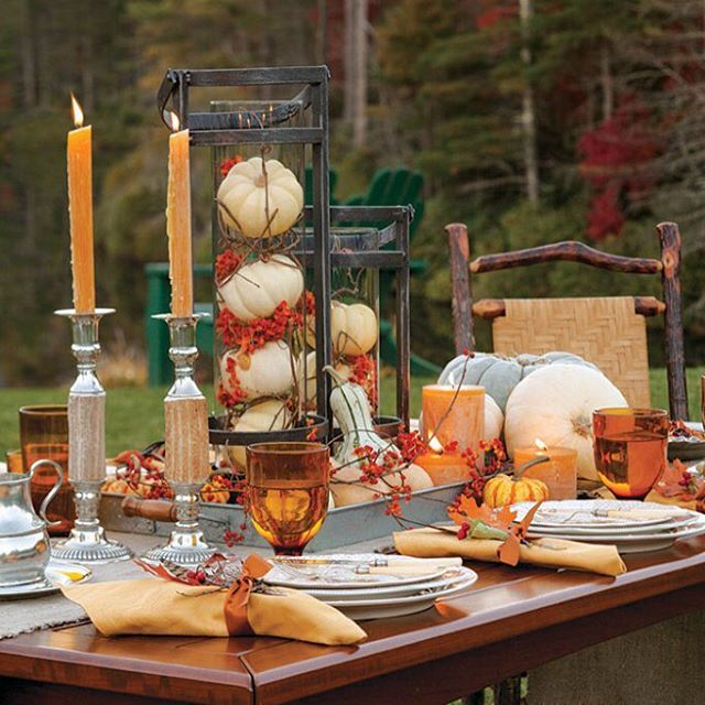 Thanksgiving or autumn themed table scape with white for Nec table 373 6