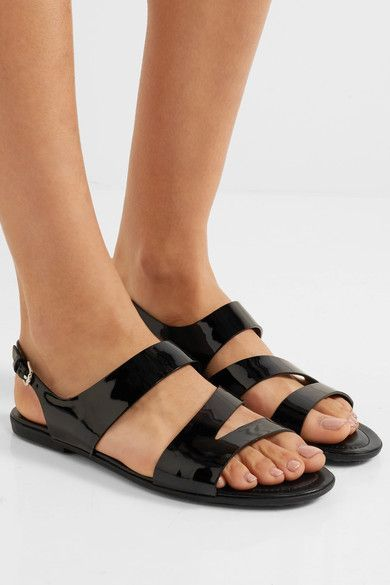 Tod's - Cutout Patent-leather Sandals - Black - IT38.5
