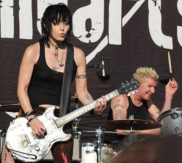 Joan Jett of Joan Jett And The Blackhearts performs during the 2012 Music Midtown Festival at Piedmont Park on September 21 2012 in Atlanta Georgia