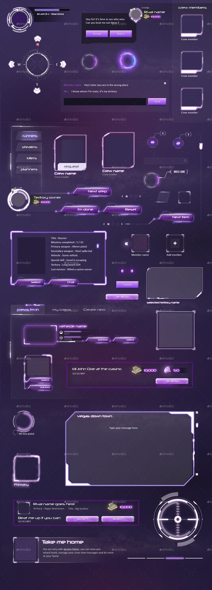 MMO RPG - Sci Fi Game UI Elements by anchor_point_heshan | GraphicRiver