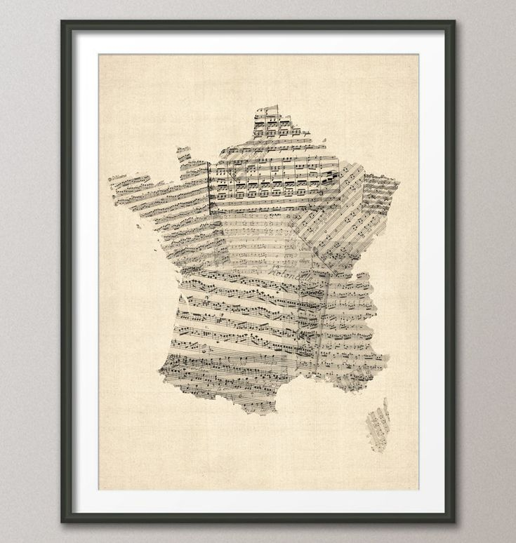 Map of France Old Sheet Music Map, Art Print 18x24 inch (812). £14.99, via Etsy.