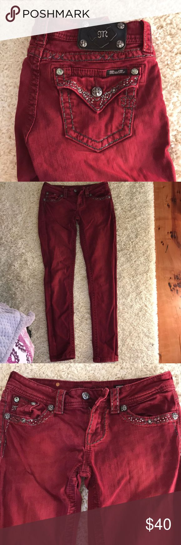 Miss mes Dark red skinny Miss Me jeans. Perfect condition. Size 26 Miss Me Jeans Skinny