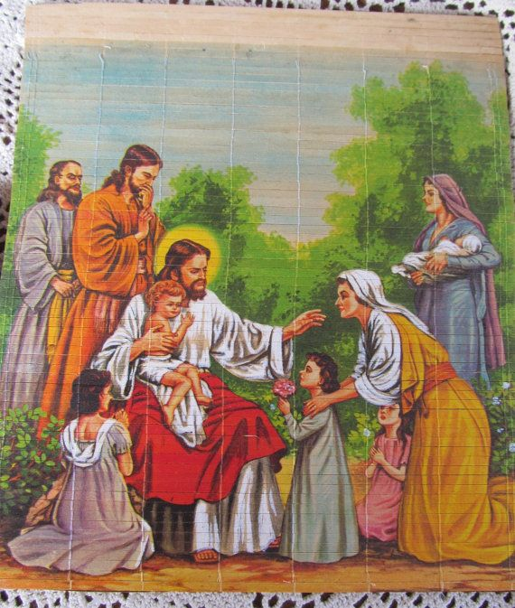 70s Religious Painting Rice Paper Mary Jesus Praugue Painting on Bamboo Blinds Plaque   ReVintageLannie.Etsy.com