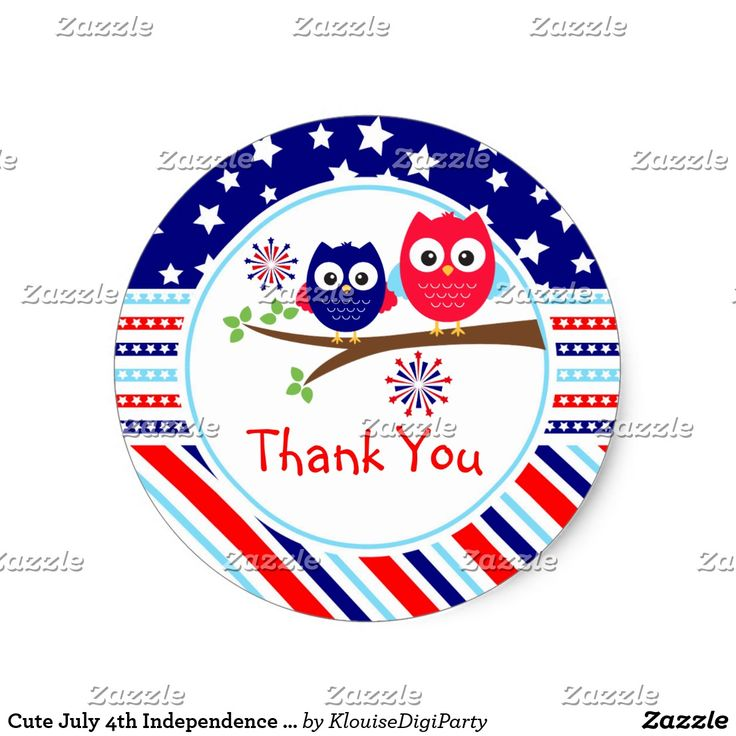 Cute July 4th Independence Day Owls Thank You Classic Round Sticker