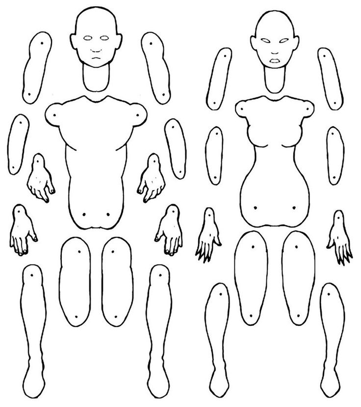Male and female jointed paper doll templates. by