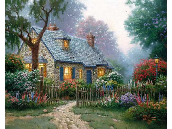 Thomas Kinkade Foxglove Cottage Painting Limited Edition Canvas