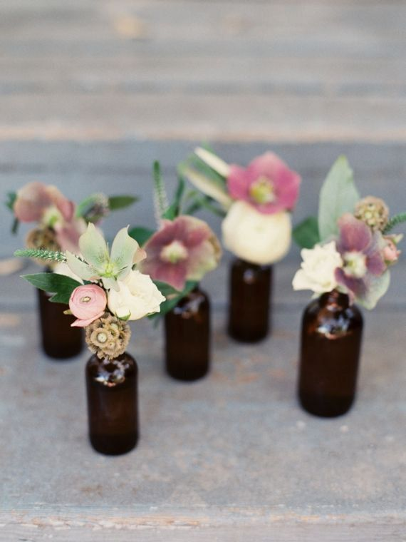 Table Decorations  Set of 6 Brown Glass Bottles by InNonnasKitchen