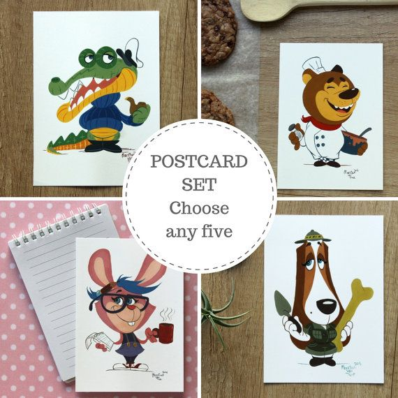 Pick any 5 of our fun, brightly coloured cartoon postcards to make your own set.