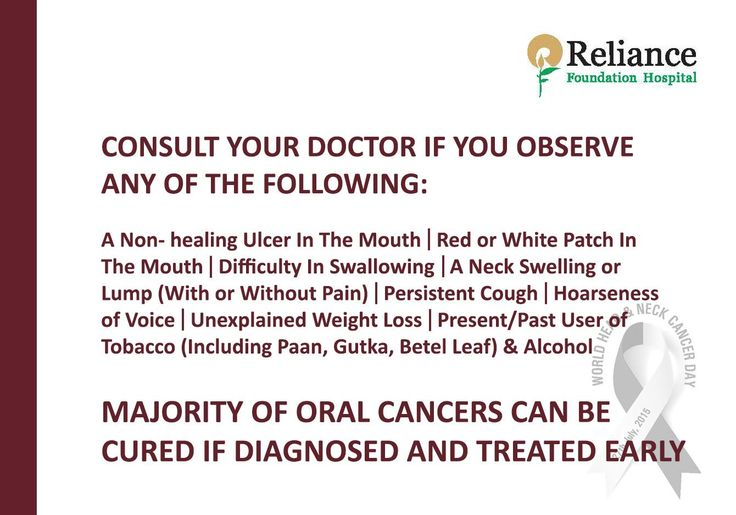 CONSULT YOUR DOCTOR IF YOU OBSERVE ANY OF THE FOLLOWING:  A Non- healing Ulcer In The Mouth | Red or White Patch In The Mouth | Difficulty In Swallowing | A Neck Swelling or Lump (With or Without Pain) | Persistent Cough | Hoarseness of Voice | Unexplained Weight Loss | Present/Past User of -9 Tobacco (Including Paan, Gutka, Betel Leaf) & Alcohol  MAJORITY OF ORAL CANCERS CAN BE CURED IF DIAGNOSED AND TREATED EARLY  #WorldHeadandNeckCancerDay #RespectForLife: RFHospital.Org