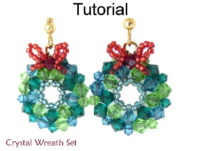 Beaded Crystal Wreath Earrings Necklace Christmas Holiday Beading Pattern Tutorial | Simple Bead Patterns