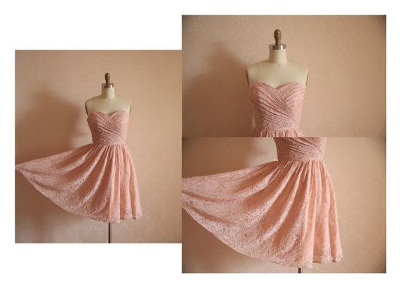 Dusty Rose Pink Peach Lace Bridesmaid Dress Prom Dress by misdress